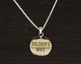 Soldier's Wife Engraved Necklace