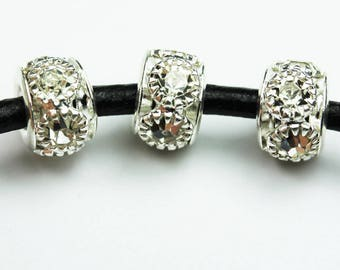 6pcs Jewellery Findings Beads,Clear rhinestone and silver-plated Brass,8*6mm ,2.5mm hole.- FDB0327
