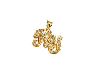 NP06cz-10K Gold Two Initial Name Necklace with Cubic Zirconia