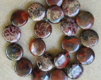 "Natural Flat Round Breciated Jasper Beads, 20mm x 9mm - 15.5"" Strand"