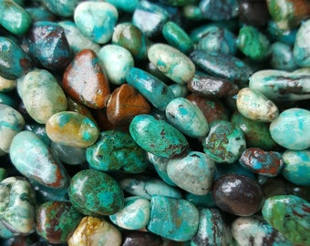 "Natural Chrysocolla Nugget Beads, 11~14x10~11mm - 15.5"" Strand"