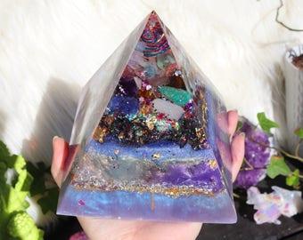 Orgonite® - Orgonite® Pyramid - Luck - Huge - Handmade - Orgone Generator® - Pastel - Crystals - Gift - EMF Protection - HoodXHippie