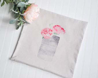 Pink Floral Farmhouse Pillow Cover | Pink Floral Throw Pillow | Watercolor Pillow Cover | Farmhouse Cottage Decor