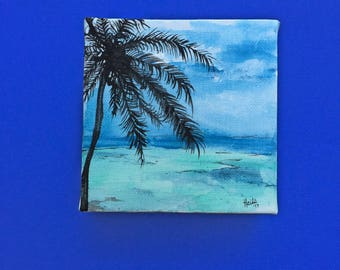 Mini Palm Tree Watercolor Painting