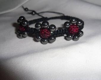 Burgundy flower bracelet