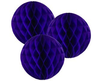 Just Artifacts Tissue Paper Honeycomb Ball (Set of 3, Royal Purple)