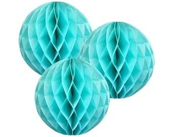 Just Artifacts Tissue Paper Honeycomb Ball (Set of 3, Seafoam)
