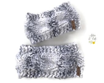 Mommy and Me set (Cable Knit Ear Warmer) (Knit headwrap) (Ear warmer) (Knit winter fashion) (Cable earwarmer)