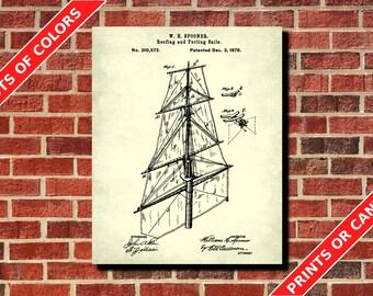 Sail Rigging Patent Print, Sailing Poster, Sailboat Blueprint, Sailor Gift, Boat Design, Boating Decor, Nautical Poster