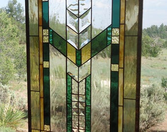 """stained glass window panel""""CLASSIC MISSION 2"""" FLW style stained glass, arts & crafts stained glass, prairie stained glass, glass suncatcher"""
