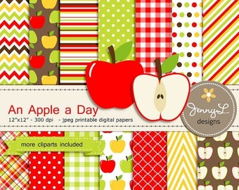 50% OFF Apple Digital Paper and Clipart SET, for Baby Shower, Wedding, School teacher and Scrapbooking Paper Party Theme,