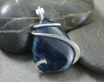 Vivianite Teardrop Cold Forged Sterling Silver Pendant