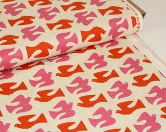 Holding Pattern On The Fly Orange - Cloud9 Organic Cotton Barkcloth Uk Seller