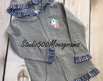 Grey/Navy Gingham Girls Ruffled Jacket/Cotton Knit Jacket/Monogrammed/Embroidered/Personalized/Transitional jacket