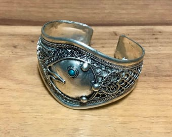 Vintage Style Turquoise  TibetanSilver Cuff Bracelet