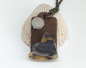 Leather landscape pendant, wearsble art necklace, seashel and agate necklace