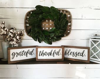 Individual grateful, thankful, blessed framed wooden signs, thankful grateful blessed, modern calligraphy, hand painted wood signs, art