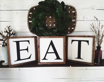 Eat sign, individual signs, kitchen decor, dining room signs, kitchen signs, dining room decor, eat wood sign, framed eat sign, large eat