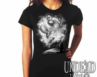 Aladdin Genie Magic Lamp - Ladies T Shirt - Black grey