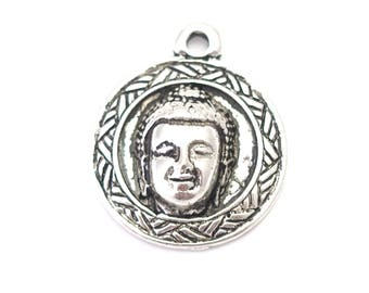 Large round charm / pendant with Buddha head silver-plated 25x22mm