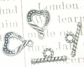 3 13x16mm silver plated heart toggle clasps
