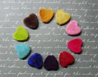 10 Velvet Heart beads multicolored 8x15x17mm