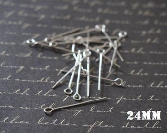 20 nails silver metal 24mm eyelet