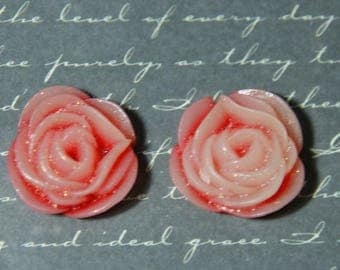 2 applique pink flower in red and pink resin glitter 21mm