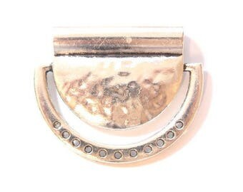 Large hammered silver-plated 45x36mm bib connector/bead