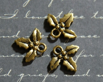 4 charms sprig of Holly in gold tone 12 5x14mm