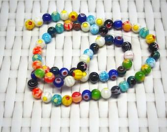 10 glass Milleflori 6 mm round beads