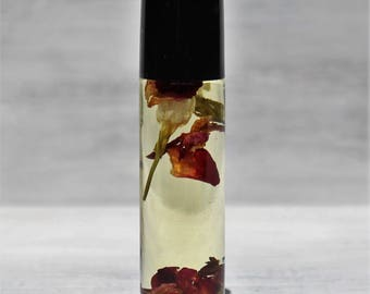 Jasmine Rose Vanilla Natural Perfume Roll On, Essential Oils, All Natural Fragrance, Alcohol Free .33 oz.  with Jasmine and Rose Flowers