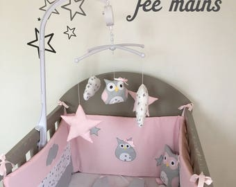 Bumper in white cotton printed star grey, grey and pink powder with star and OWL
