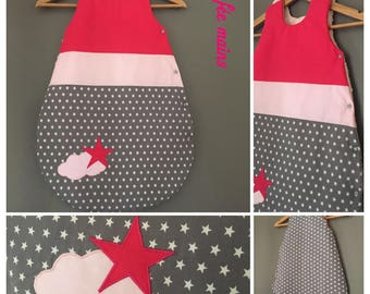 Sleeping bag 0-6 months cotton gray printed white stars, Fuchsia and pink powder