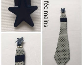 Pacifier clip tie in gray cotton fabric Navy Blue stars