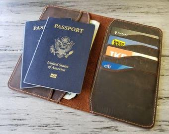 Passport Wallet, passport case, Personalized Leather Passport Wallet, Distressed Leather Travel Wallet, Passport Holder, Passport Cover