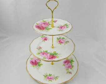 Three Tier Cake Stand Made from Royal Albert American Beauty Plates, Vintage Bone China, Roses