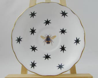 Decorative Bee Plate, Altered Art, Real Bone China, Wall Art, Wall Plate, Jewelry Dish, Vintage Gift For Nature Lover, Bumblebee