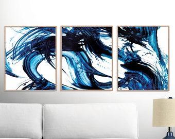 Set of 3 Prints, Abstract Art Prints, Blue Abstract Art, 16x20 Print, Abstract Printable Art, Dan Hobday, Abstract Art Set, Minimalist art