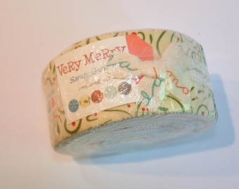 Jelly roll Very Merry by Sandy Gervais of Moda Quilt Fabric  cotton Out of print hard to find