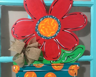 Red Daisy Flower Wooden Door Hanger