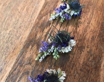 Floral Hair Clip. Made in any Colour from Dried Flowers.  Festival Wedding Hair Piece, Bride, Bridesmaid, Flower Accessory, Grip, Pins
