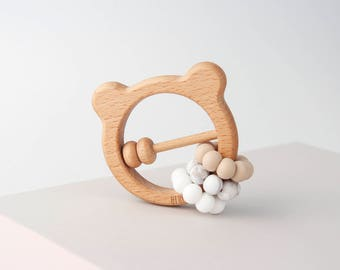 Bear Teething Toy, Beech Wood And Silicone Toy, Ring Toy, Baby Teether, BPA Free, 100% Silicone, Perfect Gift Set