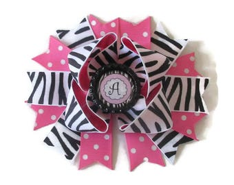 Zebra Hair Bow - Personalized Bow - Custom Bow - Animal Print Bow - Girls Hair Accessory