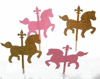 Carousel Horse Cupcake Toppers, Carousel Horse Party, Carousel Decorations, Girls 1st Birthday, Carousel Horse Ideas, Unicorn Party