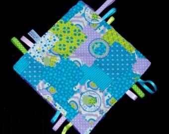 Flat taggy flowers hearts Turquoise, lime, purple baby girl princess gift birth Minkee stars