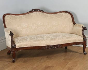 Antique English Victorian Rosewood Upholstered Couch Sofa Settee (Circa 1850)