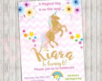 50%Off Unicorn Magical Day Invitation, Unicorn Invitation, Pink and Gold, Rainbow Unicorn , Sprinkle Invite, Gold Glitter, Baby girl Printab