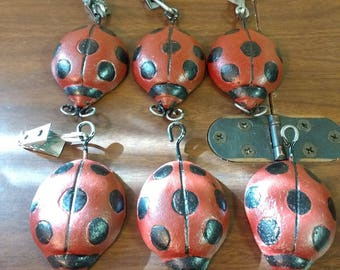 6 Vintage Cast Iron Ladybug Tablecloth Weights