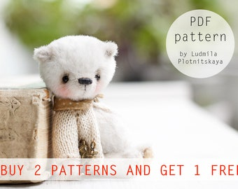 OOAK Artists Teddy Bear pattern, teddy pattern, teddy bear, soft toy pattern, miniature bear, 3.5 inches
